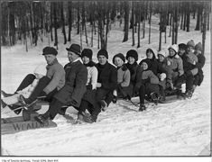 Vintage Photographs of Toronto Snow Storms that took place over the years including some of the aftermaths and how the city dealt with the snow. Toronto Snow, Toronto Ontario Canada, Snow Storms, Sled, Vintage Photographs, Over The Years, Group, Park, Retro