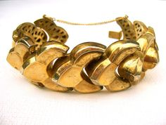 Bracelet with safety chain Art Deco hollow by FreshRetroGallery