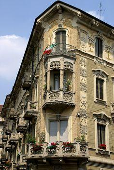 Torino liberty --   Via Claudio Beaumont/Via Pietro Piffetti, Jugendstilhaus Casa Tasca von Giovanni Gribodo (Art nouveau house)
