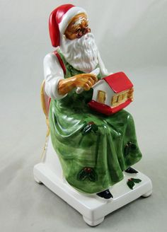 Santa Music Box Musical Ceramic Toyland Toy Maker Made Japan Vintage Christmas