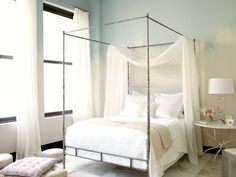 Shabby chic bedroom with canopy