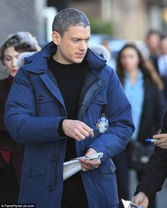 Grey matters: Wentworth Miller looks the silver fox on The Flash set in New Westminster, C...