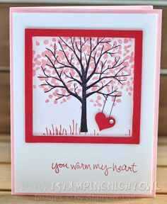 handcrafted Valentine/love card 1stampingnightowl ...  Sheltering Tree in pink with a punched heart swing ... sweet!