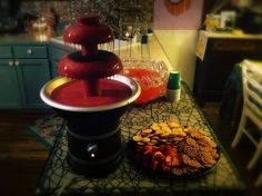"""Halloween Party food- """"bloody"""" chocolate fountain"""