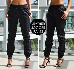 Trend Alert: Black Leather Joggers   Love Shopping Miami #leather #joggers #joggerpants