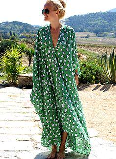 Dress - $62.99 - Polka Dot V-Neckline Long Sleeve Maxi Shift Dress (1955255518)