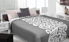 Dwustronna szara narzuta na łóżko