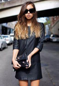 vestido-couro-bolsa-couro-street-style Couro Clássico 52b5aba44b2