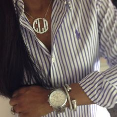 So loving the preppy style...lavender striped polo shirt with silver accessories w/monogrammed necklace