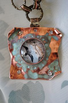 Melinda Orr Designs love this too the color Enamel Jewelry, Copper Jewelry, Pendant Jewelry, Jewelry Art, Jewelry Design, Clay Jewelry, Jewellery Box, Rustic Jewelry, Modern Jewelry
