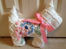 Pink Cabin Craft Flower Dog Pillow from Vintage Chenille Bedspread Toy Stuffed Toys, Stuffed Animals, Easy Crafts, Diy And Crafts, Sewing Crafts, Sewing Projects, Cabin Crafts, Chenille Crafts, Flower Dog