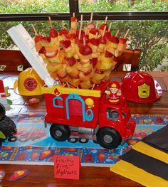 """Fruity Fire Hydrants"" Fruit skewers for firefighter party Fireman Party, Firefighter Birthday, Fireman Sam, 4th Birthday Parties, Boy Birthday, Birthday Ideas, Dalmatian Party, Party Pictures, Fire Hydrants"