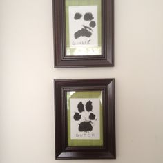 My latest pinterest inspired project. Framed paw prints of Dutch and Ginger's. I even did Ginny's distinguished 3- toe paw.