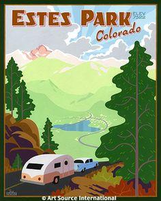 the trailer does it for me Estes Park, CO travel poster Retro Poster, Poster S, Vintage Travel Posters, Wpa Posters, Vintage Airline, Estes Park Colorado, Colorado Usa, Colorado Rockies, Vintage National Park Posters