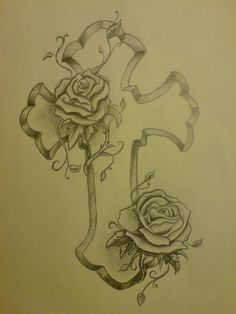 Nice cross and rose tattoo designs Cross and Roses Tattoo. Bible Tattoos, Mom Tattoos, Cute Tattoos, Flower Tattoos, Body Art Tattoos, Tattoo Drawings, Tatoos, Dream Tattoos, Bird Drawings