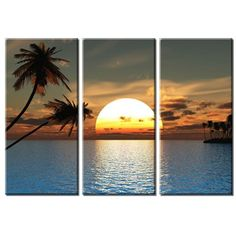 [Framed] Palm Tree Sea Sunset Big Large Canvas Print Picture Wall Art Home Decor #Impressionism