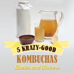 5 Krazy- Good Kombuchas!  Kombucha hydrates, boosts the immune system, and rids the body of toxins.  #kombuchas #DIY #brew