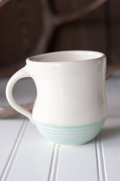Pottery Coffee Mug - White and Seafoam Green - Simple Groove Mug