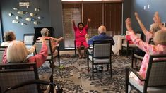 Jen leads morning stretches with our residents. Activities For Dementia Patients, Alzheimers Activities, Elderly Activities, Senior Activities, Activities For Adults, Work Activities, Physical Activities, Physical Education, Cognitive Activities