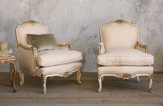 Pair Shabby Cream White Louis XV French Style Bergeres
