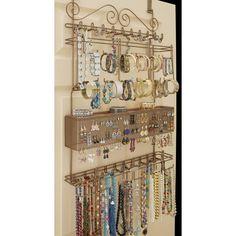 Longstem - Longstem Overdoor Jewelry Organizer, Bronze, 300 pieces - Walmart.com - Walmart.com Jewely Organizer, Hanging Jewelry Organizer, Jewelry Organization, Organization Ideas, Storage Ideas, Jewelry Storage Solutions, Jewellery Storage, Jewellery Display, Hang Jewelry On Wall