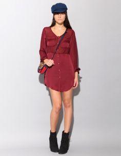 Deep red chiffon shirt dress