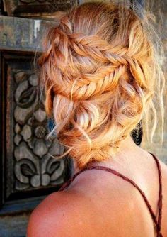 Messy fishtail updo -- let's do this to sarah's hair Pretty Hairstyles, Girl Hairstyles, Braided Hairstyles, Country Hairstyles, Wedding Hairstyles, Bridesmaid Hairstyles, Bohemian Hairstyles, Love Hair, Gorgeous Hair