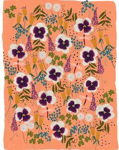 Viola Gardens in Peach by Joy Laforme on Artfully Walls