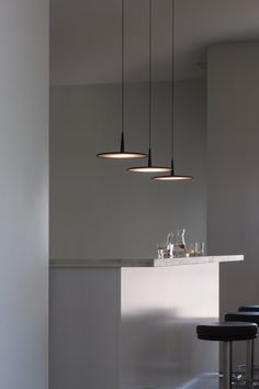 Vibia Skan 0275 Pendant Lamp - SKAN is a hanging lamp with a minimalist design. Interior Lighting, Home Lighting, Modern Lighting, Lighting Design, Bar Lighting, Deco Luminaire, Luminaire Design, Room Lights, Hanging Lights