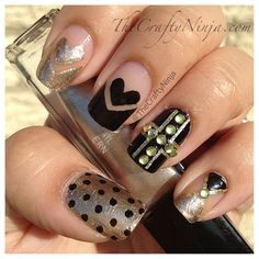 I would do all the nails like the middle nail- with a red heart, pink tips