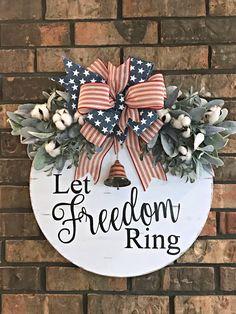 Large Patriotic Door Hanger, Red White and Blue Door Hanger, of July Swag, July Wreat Patriotic Wreath, 4th Of July Wreath, Let Freedom Ring, 4th Of July Decorations, Up Book, Door Signs, Porch Signs, Door Hangers, Door Wreaths
