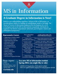 M.S. in Information at the University of Arizona School of Information