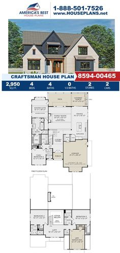Get to know this charming Craftsman design, Plan 8594-00465 offers 2,950 sq. ft., 4 bedrooms, 4 bathrooms, a covered deck, a flex room, a large walk in closet, and vaulted family room. Learn more about this design on our website today. Craftsman Style Homes, Craftsman House Plans, Flex Room, Best House Plans, Build Your Dream Home, Architectural Elements, Square Feet, Future House, Family Room