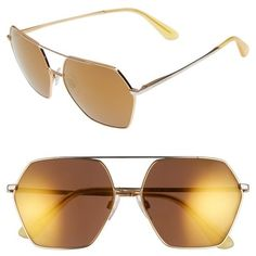 Women's Dolce&gabbana 59Mm Mirrored Aviator Sunglasses ($240) ❤ liked on Polyvore featuring accessories, eyewear, sunglasses, gold, mirror aviator sunglasses, dolce gabbana glasses, mirror sunglasses, gold mirror lens sunglasses and mirror glasses