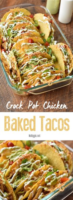 Crock Pot Chicken Baked Tacos - List of the best food recipe Slow Cooker Recipes, Crockpot Recipes, Chicken Recipes, Cooking Recipes, Healthy Recipes, Crock Pot Nachos Recipe, Potato Recipes, Casserole Recipes, Pasta Recipes