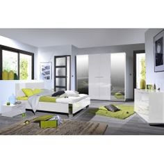 Chambre à coucher avec lit 180x200 cm coloris blanc laqué