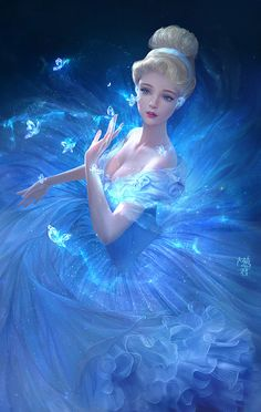 bare_shoulders blonde_hair blue blue_dress blue_eyes breasts butterfly cinderella cinderella_(disney) cleavage crystal dainegikun dress eyelashes frills gem glitter glowing gown hair_up hairband… Disney Fan Art, Disney Love, Disney Girls, Walt Disney, Disney Magic, Cinderella Disney, Cinderella Cartoon, Disney And Dreamworks, Disney Pixar