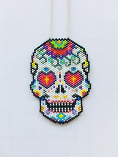 Items similar to Mexican skull long necklace / skull / miyuki beads / silver chain / original long necklace / original jewelry / girl gift / gift idea on Etsy, Bracelet Patterns, Beading Patterns, Beaded Earrings, Beaded Jewelry, Miyuki Beads, Diy Collier, Halloween Beads, Beaded Banners, Brick Stitch Earrings