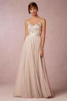 Floor Length Tulle Gown With Stunning Hand-Fashioned Embroidery (Style: 33161548) $480 at BHLDN