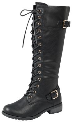 online shopping for Forever Link Women's Strappy Lace-Up Knee High Combat Stacked Heel Boot from top store. See new offer for Forever Link Women's Strappy Lace-Up Knee High Combat Stacked Heel Boot High Heel Boots, Heeled Boots, Shoe Goo, Doc Martens Boots, Black Riding Boots, Black High Heels, Black Boots Knee High, Black 7, Black Suede