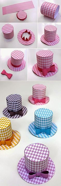 la idea es hacer un sombrero de papel siguiendo estas instrucciones y después hacer lazos de color que pegaremos al sombrero según  el día que sea