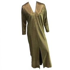 Halston IV for I.Magnin 70s gold metallic caftan.   From a collection of rare vintage evening dresses at https://www.1stdibs.com/fashion/clothing/evening-dresses/