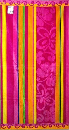 """""""Floral Stripe"""" 40x70 Egyptian cotton Beach Towel Scotts-sales.com"""