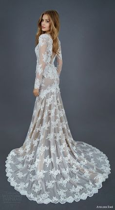 atelier eme 2016 bridal mietta illusion long sleeve lace tulle mermaid sheath wedding dress nude underlay back view train