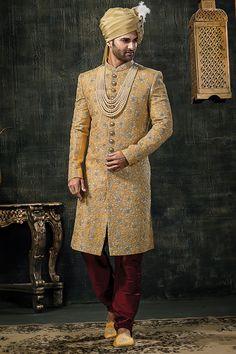 Mens Wedding Sherwani In Yellow Banarasi Silk Brocade Fabric Sherwani For Men Wedding, Wedding Dresses Men Indian, Groom Wedding Dress, Sherwani Groom, Mens Sherwani, Indian Wedding Wear, Indian Bridal Outfits, Wedding Men, Indian Groom Dress