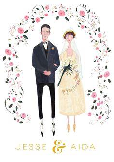 Custom Wedding Portrait English Rose Orchid by JollyEdition Wedding Menu, Rose Wedding, Wedding Cards, Couple Illustration, Illustration Art, Illustrations, Custom Wedding Invitations, Wedding Stationary, Invitation Cards