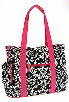 Damask with Hot Pink Trim Tote with Free Embroidery  This is just an all around great bag. Large enough for all your needs! Great for groceries, laptop, school books, folders, you name it and this bag will fit the need.  Damask with Hot Pink Trim design on canvas material. Another one of those do-all bags you cant be without.  Outside Zipper Pocket Zipper Closure at Top Metal feet Attached coin purse  21L x 14H x 6D  Select the following from the drop down menus: * Your Font Choice * Your…