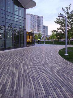 Condominium Architecture, Landscape Architecture Design, Residential Architecture, Paver Patterns, Paving Pattern, Urban Furniture, Street Furniture, Pavement Design, Paving Ideas