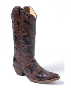 Corral Women's Chocolate Brown/Black Inlay Boot - C1957 CORRAL,http://www.amazon.com/dp/B009AGEKTW/ref=cm_sw_r_pi_dp_tG80sb0RB3QVM049