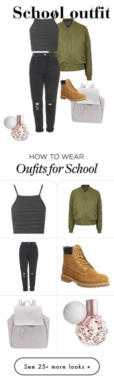 """School"" by naimaaa11 on Polyvore featuring Topshop and Timberland"